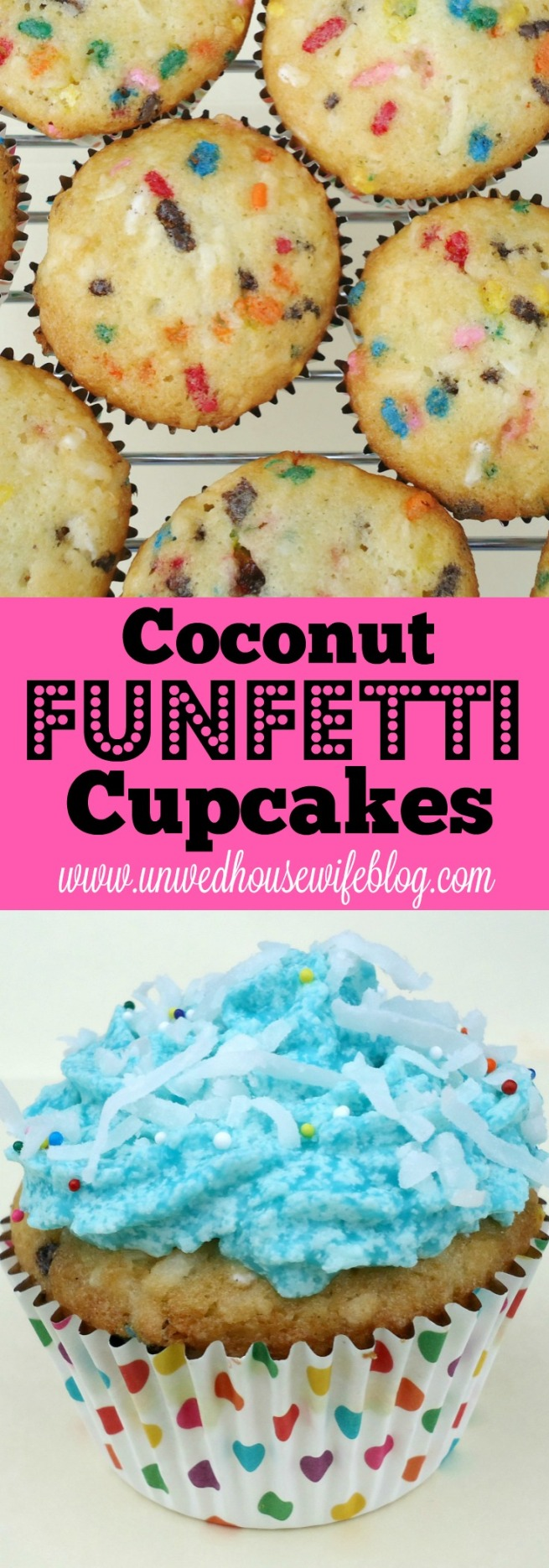 Coconut Funfetti Cupcakes | Unwed Housewife | An unforgettable cupcake recipe with coconut flakes and sprinkles. The funnest, tastiest cupcake recipe around. Perfect for parties, holidays, and weekend fun.