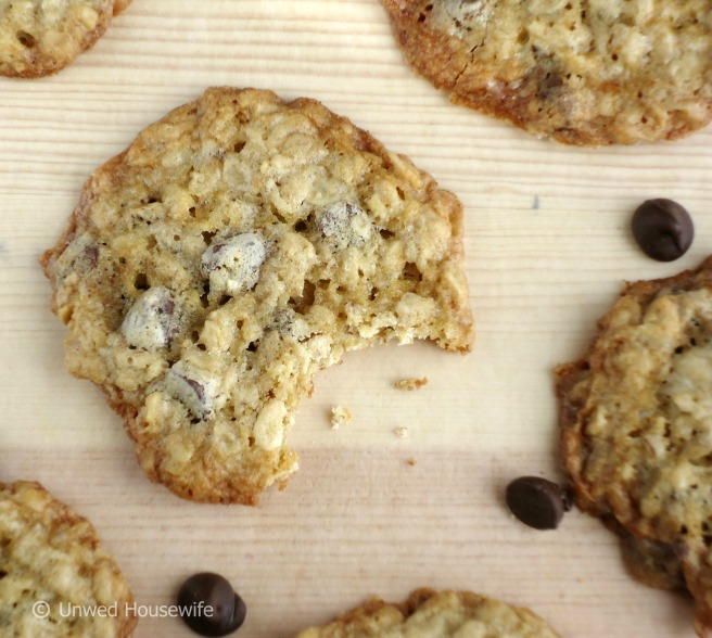 Chocolate Chip Oatmeal Cookies - Unwed Housewife
