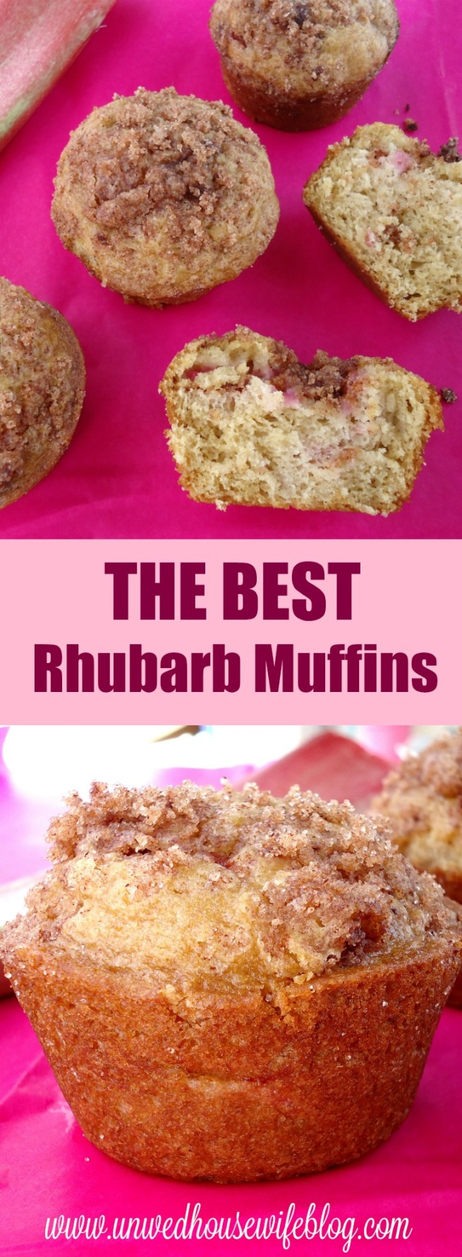 Dense, moist, bakery style rhubarb muffin recipe. THE BEST rhubarb muffins out there.