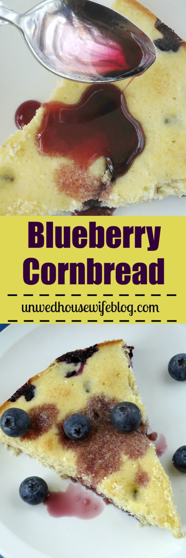 Blueberry Cornbread | Unwed Housewife | Fluffy, sweet cornbread recipe made with fresh blueberries, lemon juice, and lemon zest. This blueberry cornbread is one of a kind and unbelievably good.