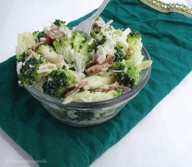 Broccoli Salad | Unwed Housewife | Refreshing, simple broccoli salad recipe with mozzarella, turkey bacon, and a special tangy sauce. This broccoli salad is the perfect summer side dish.
