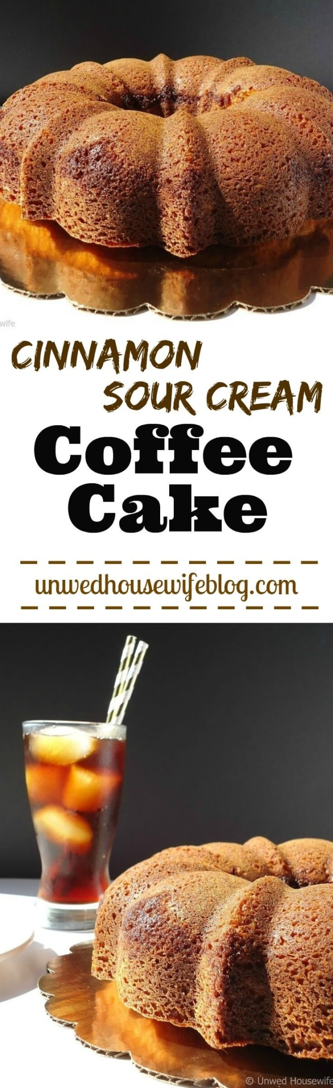 Cinnamon Sour Cream Coffee Cake   Unwed Housewife   Moist, fluffy coffee cake with a cinnamon sugar swirl. A simple, easy coffee cake recipe. This cinnamon sour cream coffee cake is so good, you'll want to eat it all day.