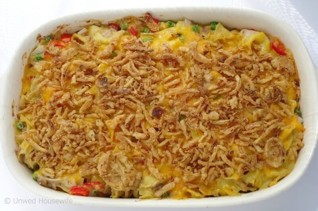Best Ever Tuna Noodle Casserole | Unwed Housewife | The best ever tuna noodle casserole made with red bell pepper, sharp cheddar cheese, and French fried onions. A homemade casserole that's perfect for family dinners and weeknight meals. You have to try this recipe!