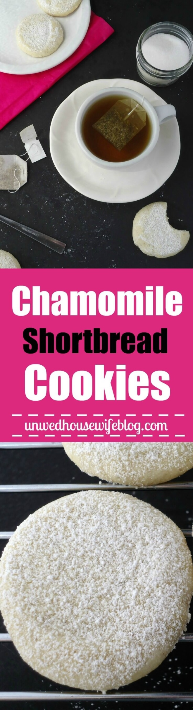 Chamomile Shortbread Cookies | Unwed Housewife | Elegant, sophisticated shortbread cookies infused with chamomile tea leaves. These soothing, calming cookies are perfect for teatime. A simple and easy, 5-ingredient cookie recipe.